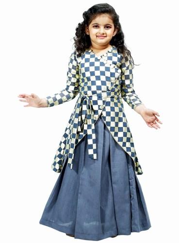 Asymmetric Georgette and Raw Silk Style Kids Lehenga Dress Jaipur