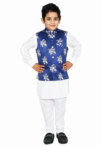 Baby Boy White Kurta Pajama Sleeveless Jacket