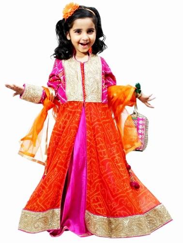 Jaipur Shop orange, pink kids Traditional Rajasthani Lehenga Choli Set