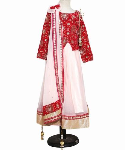 Jaipur Heavy Pink Kids Lehenga with Full Sleeves Jackets