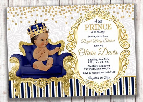 Personalized Royal Blue Gold Prince Baby Boy First Birthday Party Invitation Cards from Jaipur