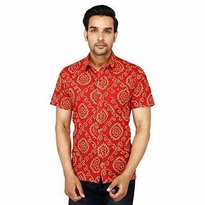 Men's Jaipuri Bandhej Printed Casual/party Cotton Shirt