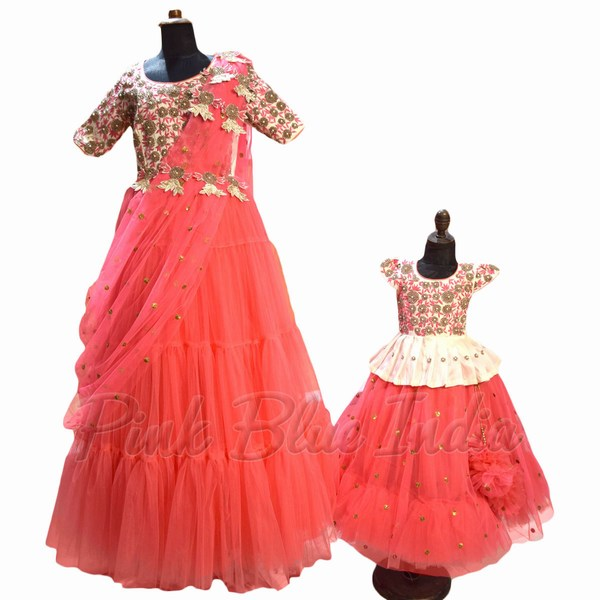 Mom Daughter Indian Gown Dresses from India